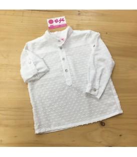 Camisa plumeti blanco modelo polo
