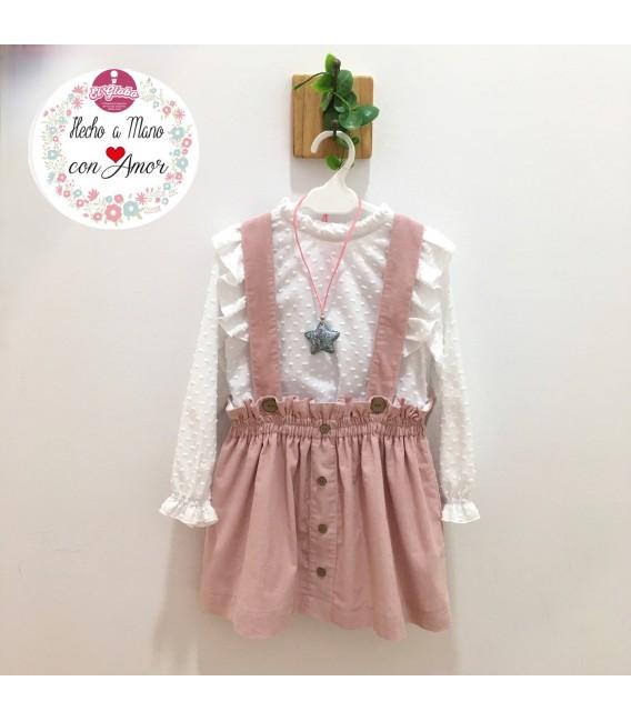 Conjunto Falda con tirantes rosa & blusa plumeti