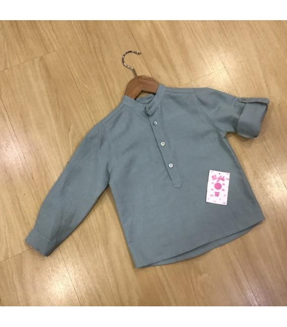 Camisa cuello Mao  de lino verde