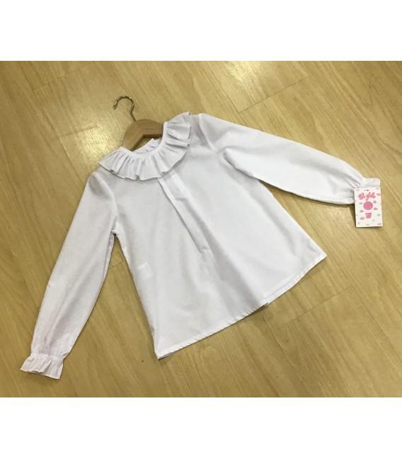 Blusa blanca de popelín volantes
