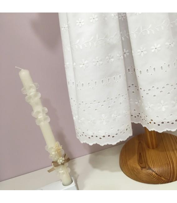 Faldón de bautizo blanco bordado